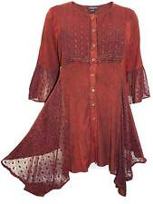 NEW Eaonplus plus size 22/24 26/28 30/32 burgundy embroidered tunic top blouse