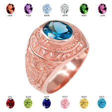 Solid 10k Rose Gold US Navy Men's CZ Birthstone Ring