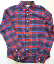 NWT HOLLISTER MUSCLE-FIT LONG-SLEEVE PLAID COTTON SHIRT BLUE & RED GRN - MEDIUM