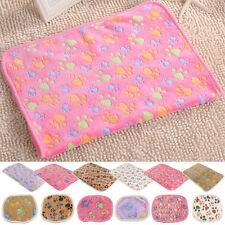 Cat Dog Puppy Soft Blanket Bed Cushion Coral cashmere Pet Small Large Paw Print