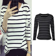 Women Long Sleeve Loose Blouse Stripe Pattern Cotton Blend O-neck Tops HF