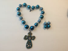 Turquoise & Silver Chunky Bubblegum Bead Western Necklace Set w/ Removable Cross