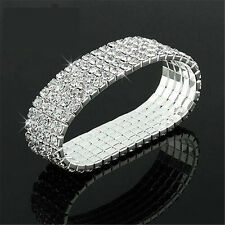 Bling Chic Crystal Rhinestone Stretch Bracelet Bangle Wedding Bridal Wristband~
