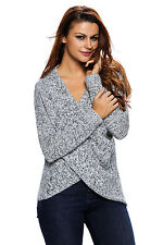 Cali Chic® Women's Sweater Long Sleeve Chunky Cross Wrap V Neck Tunic Pullover