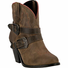 Dingo Womens Taupe Bridget Leather Cowboy Boots Double Buckle Zip