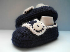 Handmade Crochet / Knit Baby Boys Navy Loafer Style Shoes / Booties