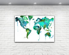 WORLD MAP PRINT MODERN ART CANVAS