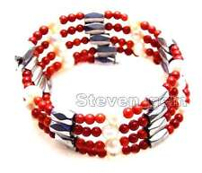 3-4mm Red Coral and White Pearl & White Hematite Magnetic 29''  Bracelet-n6060