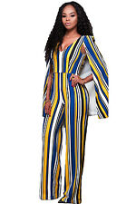 Sexy Women Club-wear  Stripes Cape Long Sleeve Bodycon V Neck RomperJumpsuit
