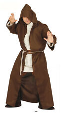 MENS JEDI COSTUME BLACK BROWN HOODED ROBE MEDIEVAL MONK HALLOWEEN FANCY DRESS