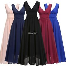 Women V Neck Drape Ruched Waist Evening Party Dress Long Maxi Dress BF9
