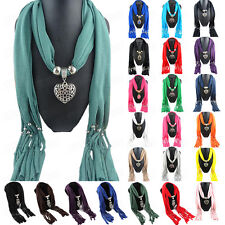 Infinity Scarf Womens Heart-Shaped Owl Pendant Tassel Cotton Scarves Shawl Wraps