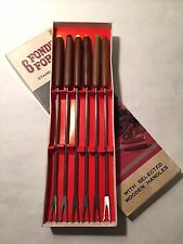 Vintage 60s Set 6 Stainless Steel Fondue Forks Wood Handles Colored Tips Japan