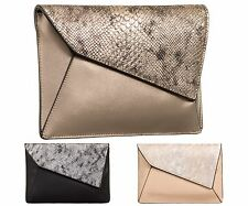 Ladies Designer Fx Leather Clutch Bag Snakeskin Evening Bag Animal Handbag KT623