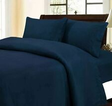 Luxury 5 Piece Duvet Set 1000 Thread Count Egyptian Cotton Navy Blue Solid