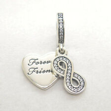 Authentic Genuine S925 Sterling Silver Forever Friends Clear CZ Dangle Charm