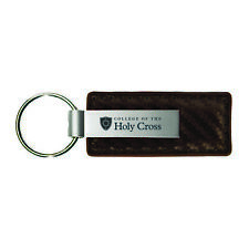 College of the Holy Cross-Carbon Fiber Leather and Metal Key Tag-Taupe