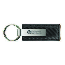 Stephen F. Austin State University-Carbon Fiber Leather and Metal Key Tag-Grey