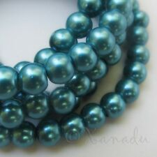 Teal 6mm Round Wholesale Glass Pearl Beads G0100 - 75, 150 Or 300PCs