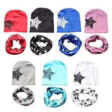 2pcs/set Star Print Toddler Infant Kids Girl Boy Baby Hat Cap +Saliva Bib Scarf