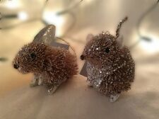 Gisela Graham Christmas Bristle Rabbit & Mouse Tree Decorations Silver Frosted