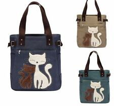 Fashion Women Canvas Handbag Casual Big Tote Bag Cartoon Cat Design Shoulder bag