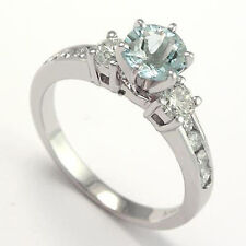 0.75 CT AQUAMARINE AND DIAMOND ENGAGEMENT RING 14K GOLD