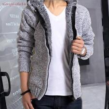 Mens Stylish Winter Warm Fleece Hooded Cardigan Sweater Warm Knitted Casual coat