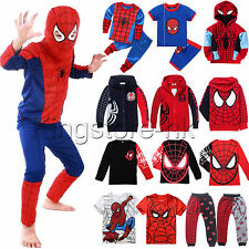 Baby Boys Kids Spiderman Set Hooded Tops T Shirt Pants Outfits Cosplay Costume
