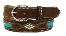 Nocona Western Mens Belt Leather Ribbon Overlay Diamond Concho Brown N2474402