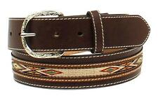 Nocona Western Mens Belt Leather Ribbon Overlay Oval Concho Brown N2475102