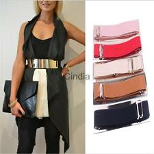 Women Sexy Stretch Elastic Buckle Glisten Mirror Belt Dress Waistband Girdle Hot