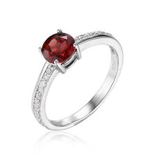 JewelryPalace Natural 1.3ct Red Garnet White Topaz Ring 925 Sterling Silver