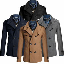 Mens Fashion Double Breasted Wool Jacket Coat Slim Fit Long Trench Coat Peacoat