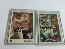 Chicago Cubs Mitch Webster Autographed Baseball Card Collection Lot of 2