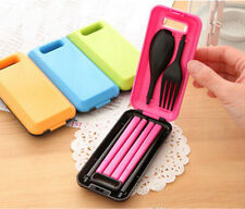 Portable Spoon Fork Chopsticks Tableware Set for Travel Plastic Cutlery Camping