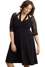 Black Alluring Lace Sleeve Swing Plus Sexy Cocktail Evening Maxi Women Dress