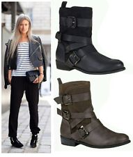 LADIES WOMENS COMBAT ARMY MILITARY WORKER BUCKLE FLAT BIKER ANKLE BOOTS 3 , 4