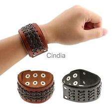 Punk Braided Mens Wide Leather Snap Buttons Wristband Fashion Bangle Bracelet