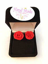 Red/Pink Rose Polymer Clay Stud Earring Handmade comes with nice box!!