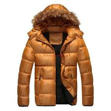 Hot sale! Mens winter Cotton Down Blend Faux fur Collar Padded Hooded Jacket new