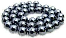 "SALE 8mm Black Super Luster Round High Quality Hematite beads strand 15""-los459"
