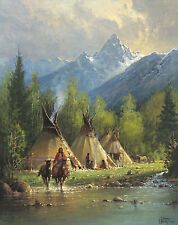 Teton Valley G Harvey AP 150 30x24 Paper Signed NEW Native American Horses