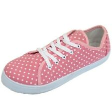LADIES PINK POLKA FLAT LACE-UP PLIMSOLLS TRAINERS CASUAL SHOES CANVAS PUMPS UK 4