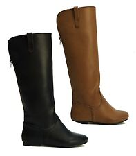 Women's Black Brown Faux Leather Biker Knee Length Zip Up Riding Boots Size 3-8