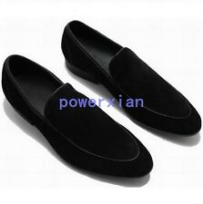 Mens Pointed Toe Leather Slip On Suede Loafer Dress Formal Driving Formal Shoes