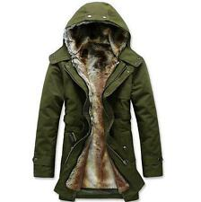 Men's Fur Long Coat Hooded Thicken Warm Jacket Outerwear trench parka