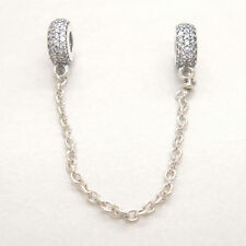 Authentic Genuine Sterling Silver Pave Inspiration Safety Chain Clear CZ Charm