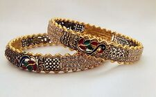 Indian Traditional Lovable Gold Plated Peacock Bangles Set of 2 Ethnic Size