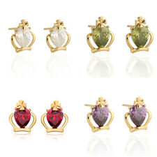 Girls 18K Gold Plated Clear Teardrop Crystal Ruby Crown Princess Stud Earrings